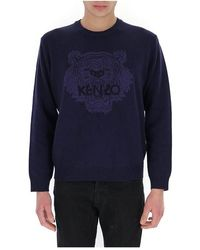 Maison Margiela Tiger-embroidered Jumper - Blauw