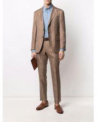 Luigi Bianchi Mantova Loro Piana Summertime X L.b.m. Pinstripe Suit Marrón
