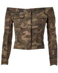 Faith Connexion Off-the-shoulder Camouflage Jacket - Groen