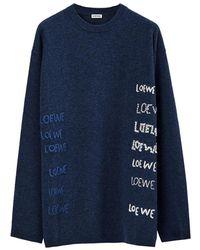 Loewe Embroidered Crewneck Sweater - Blauw