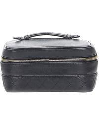 Chanel Vintage Matelasse Lambskin Leather Vanity Bag - Noir