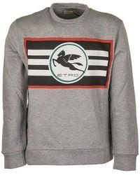 Etro Sweatshirt With Printed Pegaso Logo - Grijs