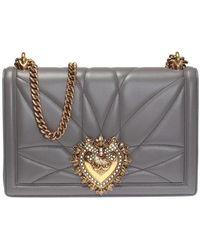 Dolce & Gabbana 'devotion' Quilted Shoulder Bag - Grijs