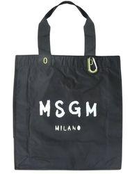 MSGM Shopping Bag With Brushed Logo - Zwart