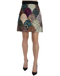 Dolce & Gabbana Patchwork High Waist Mini Jaquard Skirt - Blauw