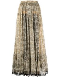 Mes Demoiselles Hulotte Long Skirt with Floral Print - Marron