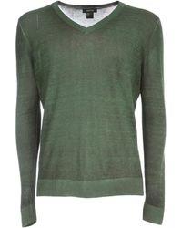 Avant Toi V Neck Pullover With High Edges - Vert