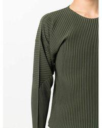 Issey Miyake Plissé-effect long-sleeve top Verde