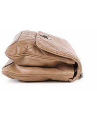Chanel Vintage Bolso de hombro de cadena larga de piel de becerro color nude oscuro de segunda mano Beige - Neutro