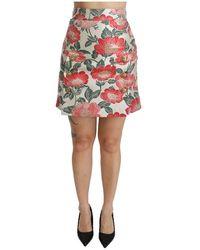 Dolce & Gabbana Minigonna floreale a vita alta - Rosso