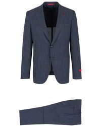 Isaia Gregory Checkered Suit - Blauw