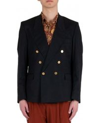 Mauro Grifoni Double Breasted Raw Cut Jacket - Noir