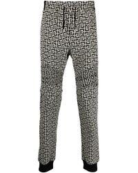 Balmain Ribbed Double Jersey Monogram Sweatpants - Zwart
