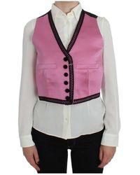 Dolce & Gabbana Button Front Torero Vest Top - Pink