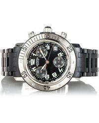 Hermès Clipper Diver Chronograph Quartz Watch Metal Stainless Steel - Zwart