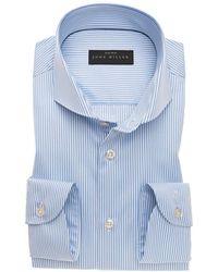 John Miller Slim Fit Overhemd Shirt - Blauw