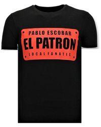Local Fanatic Coole T-shirt Mannen Pablo Escobar El Patron - Zwart