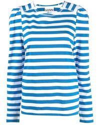 Ganni Striped Jersey - Blauw
