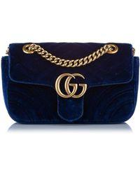 Gucci Borsa a tracolla in velluto GG Marmont - Blu
