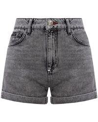 Philipp Plein - Denim shorts with logo - Lyst