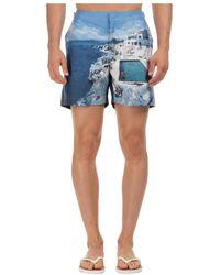 Orlebar Brown Men's Boxer Swimsuit Bathing Trunks Swimming Suit Bulldog Hulton City - Blauw