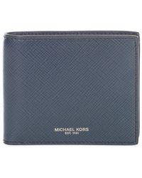 Michael Kors Solid Crossgrain Billfold Wallet - Blauw