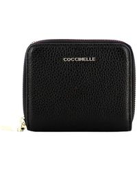 Coccinelle Small Metallic Soft Zip Around Wallet - Noir