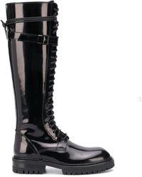 Ann Demeulemeester Leather Boots Buckle - Zwart