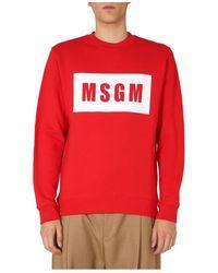 MSGM - Crew Neck Sweatshirt - Lyst
