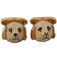 Dolce & Gabbana Dog Puppy Branded Cufflinks - Geel