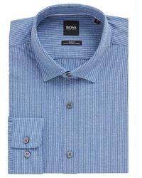 BOSS by Hugo Boss Slim Fit Overhemd Rikki - Blauw