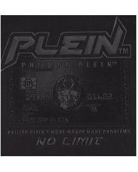 Philipp Plein Camiseta Corte Cuello Redondo Tarjeta de Crédito Negro