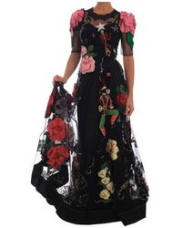 Dolce & Gabbana Crystal Fairy Tale Floral Lace Gown - Zwart