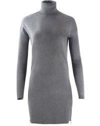 Michael Kors Turtle Neck Zip Sweater Dress - Grijs