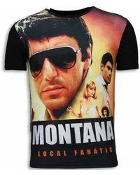 Local Fanatic Tony Montana - Digital Rhinestone T-shirt - Zwart