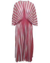 Dior Striped Pleated Dress - Rose