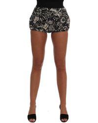 Dolce & Gabbana Floral Brocade Mini Hot Shorts - Zwart