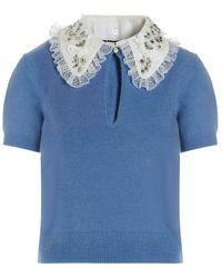 Elisabetta Franchi Jewel Collar Sweater - Blauw