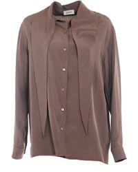 Lemaire Tie Neck Shirt - Bruin