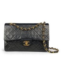 Chanel Vintage Small Classic Double Flap Bag - Zwart