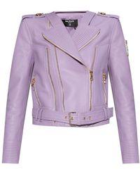 Balmain - Leather Biker Jacket - Lyst