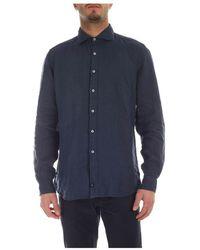 Fay - Blue Linen Shirt - Lyst