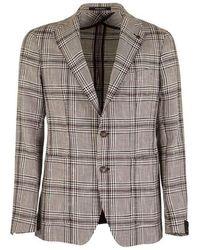 Tagliatore Large checked jacket blazer - Marrone