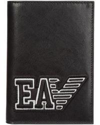 Emporio Armani Men's Travel Document Passport Case Holder - Zwart