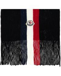 Moncler Wool Scarf With Logo - Zwart