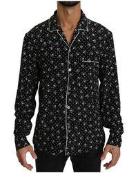 Dolce & Gabbana Silk Nachtkleding Shirt - Zwart