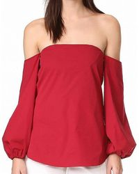 Versace Blouse Lipstick Off Shoulder Puff Sleeve - Rood