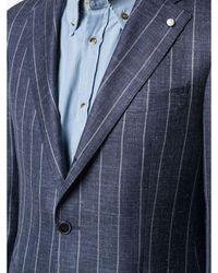Luigi Bianchi Mantova Loro Piana Summertime X L.b.m. Pinstripe Suit Azul