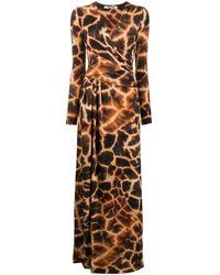 Roberto Cavalli Giraffe print maxi dress - Marron
