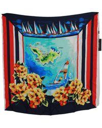 Dolce & Gabbana Floral Neck Wrap Shawl Scarf Silk - Zwart